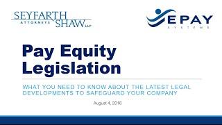 Pay Equity Legislation & EE0-1 Webinar Feat. Seyfarth Shaw