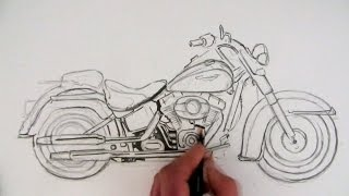 How to Draw a Harley-Davidson Motorcycle: Time Lapse