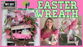 Pink Truck Wreath | Easter Wreath Dollar Tree DIY | Easy Grapevine Wreath Tutorial