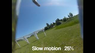 One of many crashes my first day at an FPV-racing track.