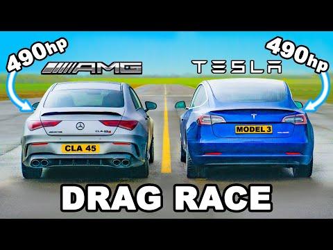 490hp AMG CLA 45 v Tesla Model 3 Performance: DRAG RACE