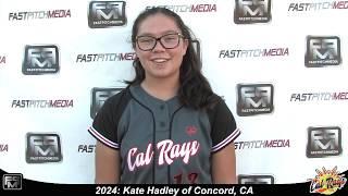 2024 Kate Hadley Pitcher and Shortstop Softball Skills Video - Cal Rays