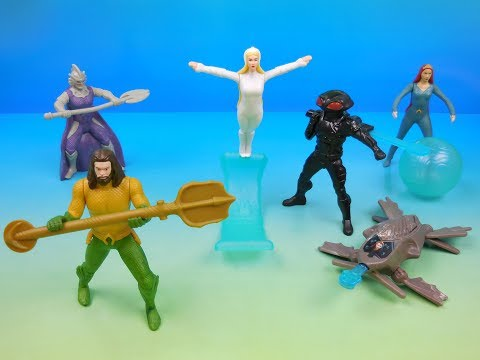 2018 AQUAMAN SET OF 6 BURGER KING KIDS MEAL MOVIE TOYS VIDEO REVIEW