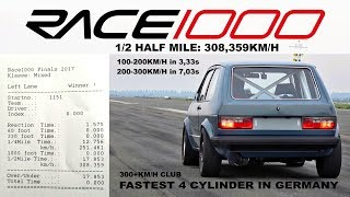 VW Golf Mk1 AWD 1000+HP RACE 1000 Half Mile 308,35kmh 2017