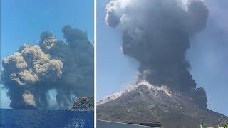 video: Alarmed tourists watch huge volcanic eruption on Italy's Stromboli island
