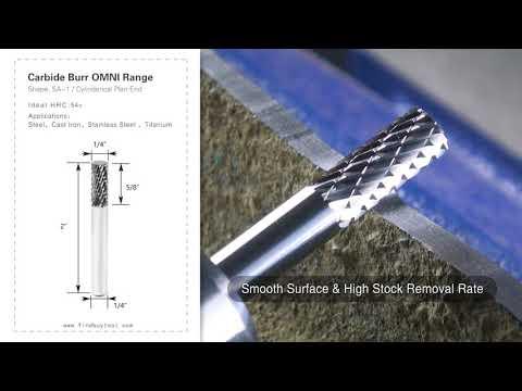 Carbide Burr SA-1 Cylinderical Plan End OMNI Range Head D 1/4 x 5/8L ,1/4 Shank, 2 Inch Full Length