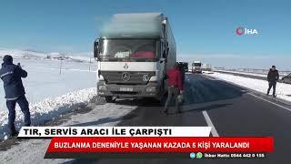 Konya'da işçi otobüsü tırla çarpıştı: 5 yaralı
