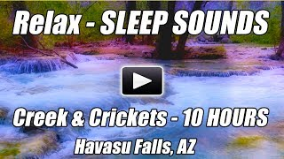10 Hour Relaxing DEEP SLEEP NATURE SOUNDS Forest Creek Crickets Relax Sound of Water Blue Nightlight