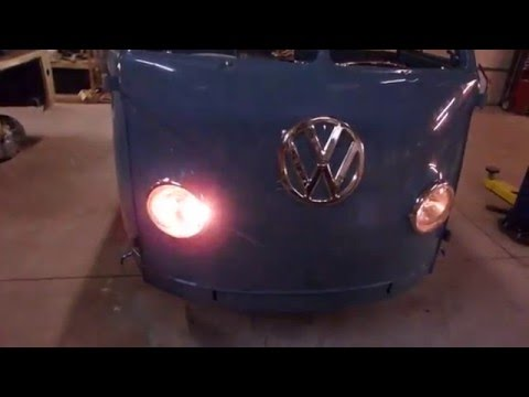 Volkswagen bus headlight modified for turn signal