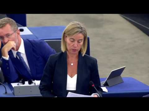 Federica Mogherini debates the situation in Gabon at the European Parliament Plenary