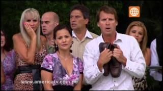 Reyna Pachas cae estrepitosamente a la piscina