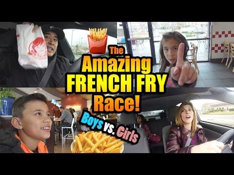 The Amazing FRENCH FRY Race!!! BOYS vs. GIRLS Challenge!