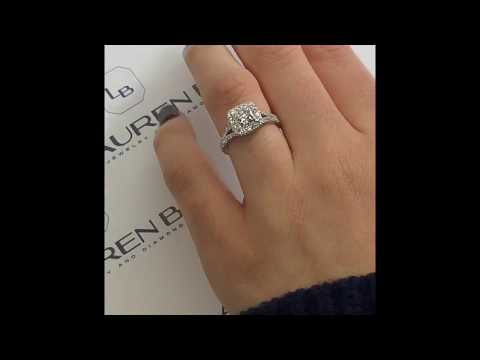 1.21 ct Princess Cut Diamond Halo Engagement Ring