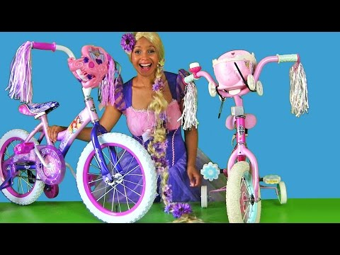 Riding 2 Disney Princess Bikes with Rapunzel ! || Disney Toy Reviews || Konas2002