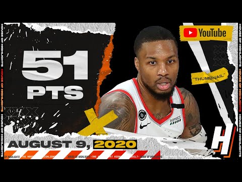 Damian Lillard CRAZY 51 Points 7 Ast Full Highlights | 76ers vs Blazers | August 9, 2020