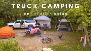 Truck Camping Campsite Setup - On Location Walkthrough.