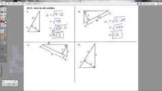 Geometry - Chapter 7 Review Packet (Special Right Triangles And Basic Trigonometry)