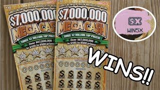 "2 NICE WINS IN A ROW!! $7,000,000 ""MEGA CASH"" LOTTERY TICKET SCRATCH OFF!!"