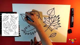 Как нарисовать маркерами осенние листья. Видео-урок для начинающих