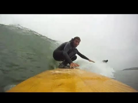 Surfing an Ancient Hawaiian Alaia Surfboard  GoPro HD