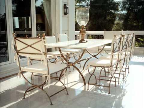 Metall-Gartenmöbel - Terrasse Set Terrassen Mobiliar Tische Marmor Terrassenmöbel Poolmöbel