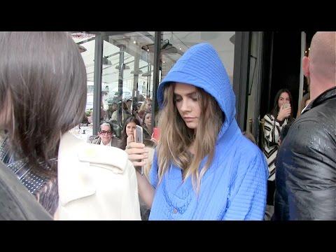 Kendall Jenner, Cara Delevingne, Corey Gamble and Kris Jenner leaving l Avenue restaurant in Paris