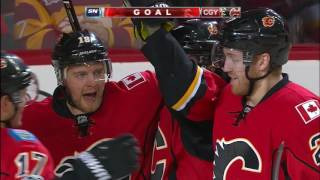 Flames score four with little over 5 minutes left in 1st period