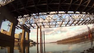 Kayaking under I 70 on the Missouri River