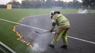 Kunstgrasveld SV Argon Mijdrecht in brand