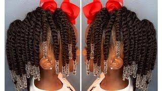 Two-Strand Twist Pony Hawk W/Beads | Kids Natural Hair | IAMAWOG