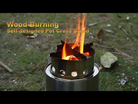 TOMSHOO Portable Wood Stove BBQ Self-designed cross stand and mesh