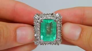 Vintage Colombia Emerald & Berlian Cocktail Cincin Yang Menakjubkan Dan Substansial 14K 15.30 Karat