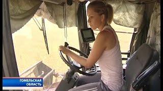 В Речицком районе на уборке зерновых работают женщины-комбайнеры
