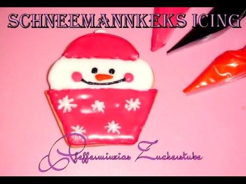 Anleitung für Icing Schneemannkekse/ Tutorial Snowman Cookies/ Kekse für Anfänger