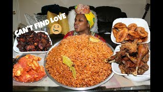 JOLLOF/PARTY RICE: African/Nigerian Food MUKBANG먹방!!  - Hard finding Love