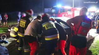 Wypadek w Żarnowcu - akcja ratunkowa