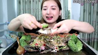 Raw Crab With Bitter Gourd Mukbang | EATING SHOW
