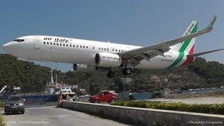 LOWEST 737 LANDING EVER! @ Skiathos, the second St Maarten   Air Italy 737-8BK crazy pilot!