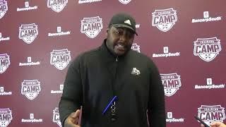 Coach Marcus Johnson provides a progress report on the Bulldog O line