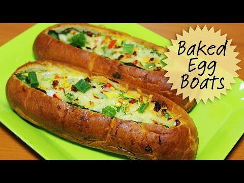 Cheesy Baked Egg Boats | Breakfast Egg Recipes | Egg Boats Recipe | Kanak's Kitchen