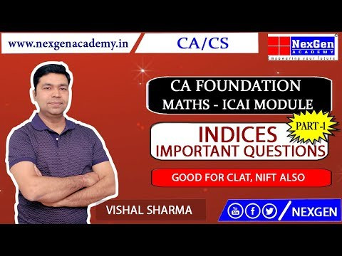 Indices - Questions from ICAI Module Part 1 II CA Foundation Maths