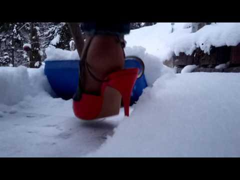 Schnee schieben in 12cm Slingpumps