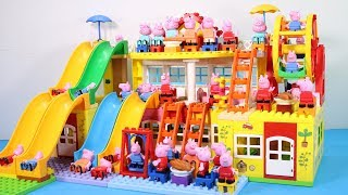 Peppa Pig Family Lego House Creations With Water Slide Toys #7
