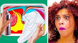 CUSTOMIZE YOUR SNEAKERS WITH HYDRO DIPPING || Genius Decor Hacks by 123 GO! GOLD