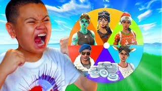 1 KILL = MYSTERY WHEEL SPIN TO *GIFT* A CRAZY SKIN For Little Brother! FORTNITE (MUST WATCH!)