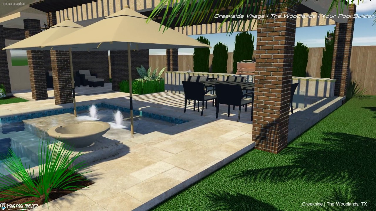 Creekside Park Village 3D Pool Design | Your Pool Builder The Woodlands, TX