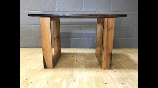 Black Resin English Walnut Side Table  (Short Edit)