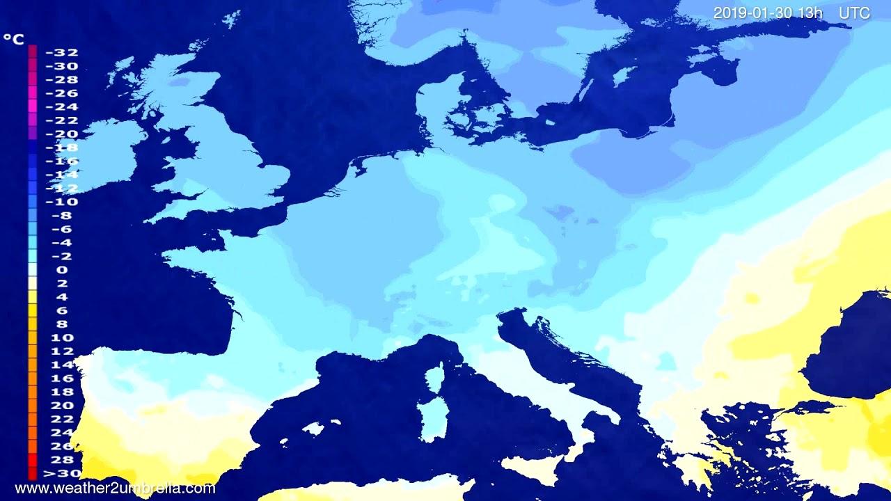 Temperature forecast Europe 2019-01-27
