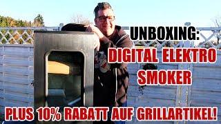 UNBOXING: GÜNSTIGER DIGITAL ELEKTRO SMOKER KLARSTEIN FLINTSTONE - 10% Rabatt für alle Zuschauer