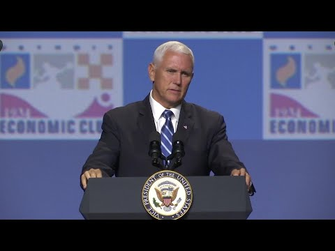 Vice President Mike Pence praises the economy during a speech in Detroit without making reference to fears of a possible recession. (Aug. 19)
